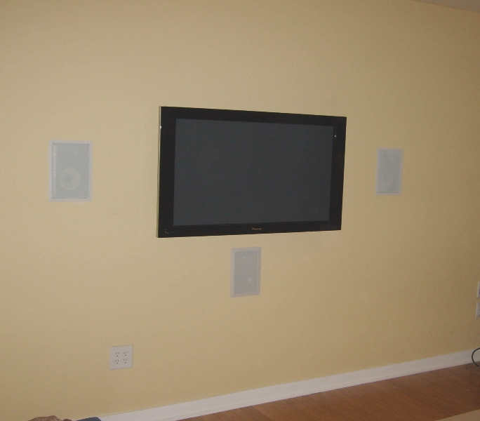 TV installation with in wall speakers